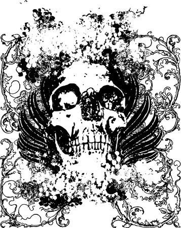 FLoral grunge vector skull illustration
