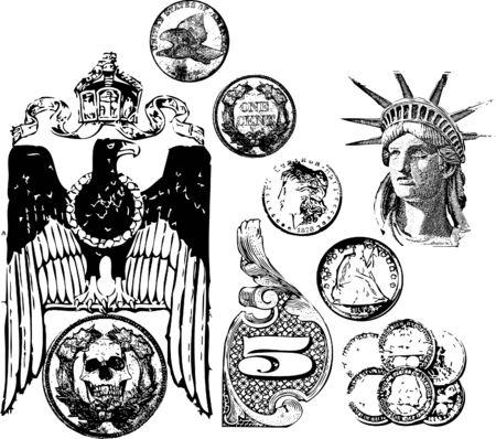 animal skull: Vector grunge coin set