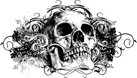 grunge: Vector skull floral grunge illustration
