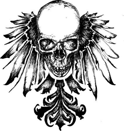 demons: Vector skull heraldry illustration Illustration