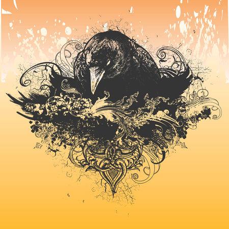 crow: Wicked Crow Vector Apparel Illustration