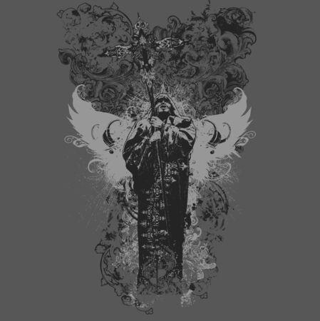 grunge cross: Illustrazione vettoriale di divinit� apparel