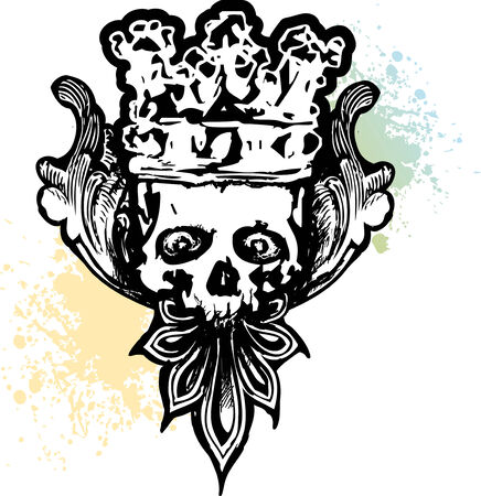 skull and crown: Crowned Wicked Skull Illustration