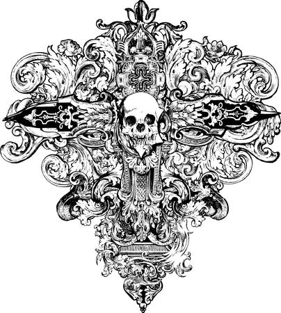 cross bones: Ideal para los fondos, camisetas, prendas de vestir e ilustraciones! Vectores