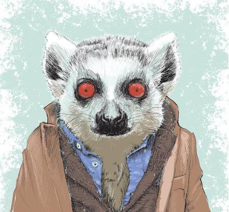 lemur: Dapper Lemur Illustration
