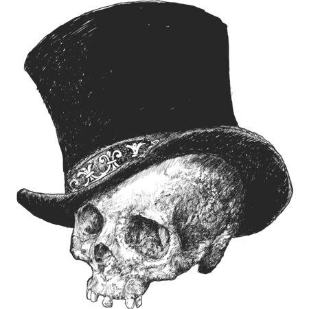 Top Hat Skull Illustration