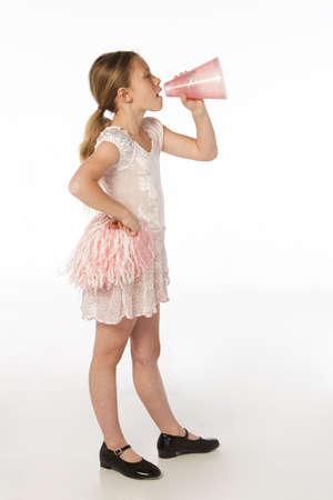 Little girl cheering Imagens