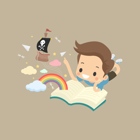 tot: Illustration of a cute little boy reading a pirate-themed book