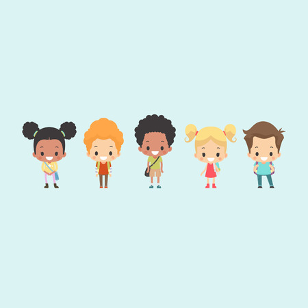 diverse group: Illustration of a diverse group of kids wearing school bags ready to go to school Illustration
