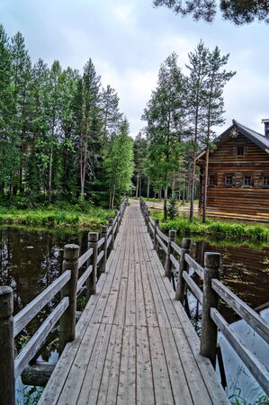 quietude: Wooden bridge in the forest