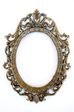 a beautiful oval frame made of metal photo