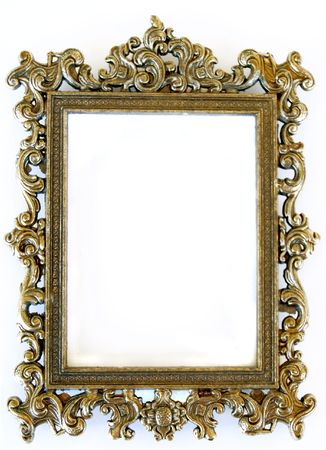 sculpt: rectangular frame with intricate work against white background