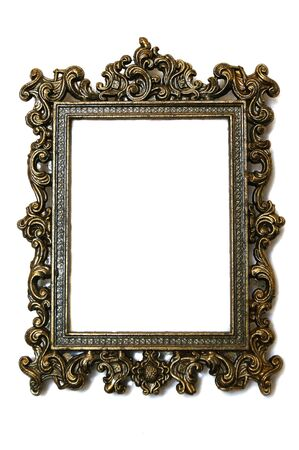 antique: a rectangular antique frame with intricate design Stock Photo