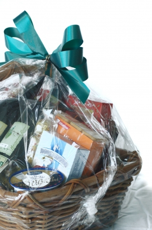 baskets: a gift hamper Stock Photo