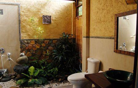 premise: bathroom with plants Stock Photo