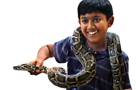 herpetology: Boy holding his pet snake
