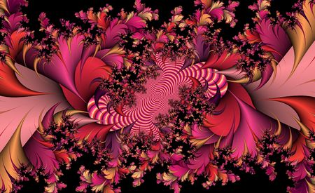 complex fractal froral design in red hues
