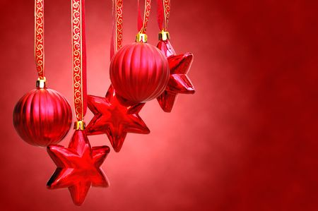 christmas decoration- hanging red baubles and stars