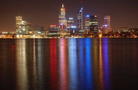 a view of perth, western australia at night