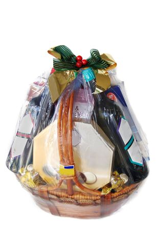 baskets:    a nicely decorated gift hamper of wines and chocolates