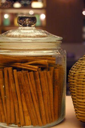 backing: cinnamon sticks in a jar