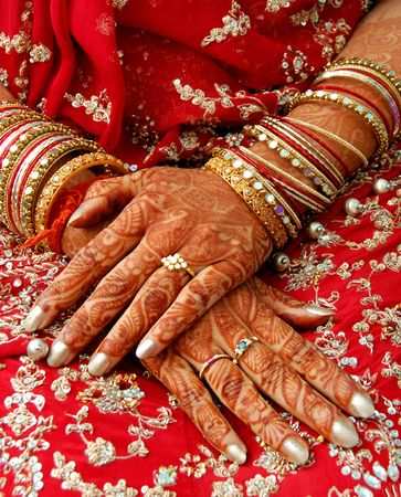 beautification:   hands of an indian bride decorated with henna