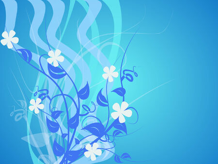 abstract floral design in blue