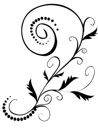 ベクトル イラスト-ブラック花柄