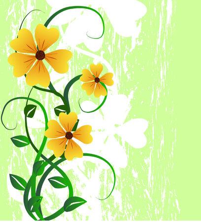 꽃과 꽃을 피우는 그림 일러스트