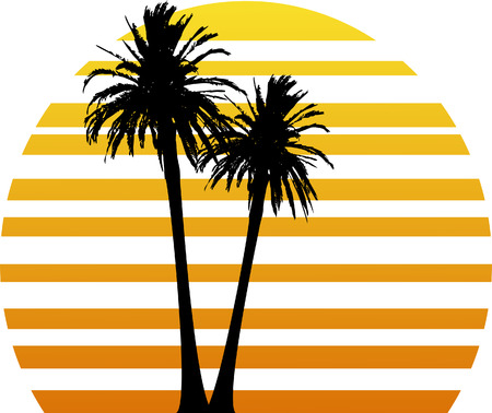 vector illustration with two palm trees and stylized sunset Vettoriali