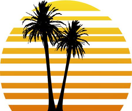 logotipo turismo: ilustraci�n vectorial con dos palmeras y estilizada puesta de sol