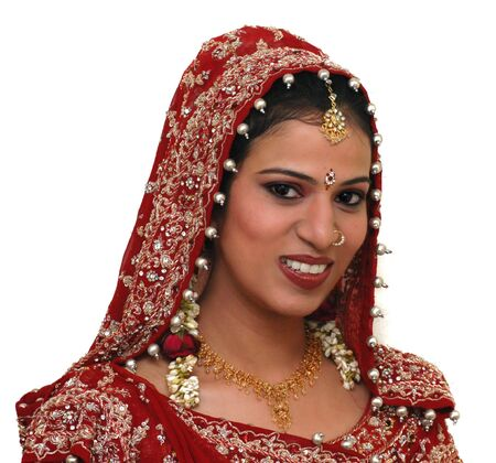 indian bride:    Young Indian bride wearing the traditional saree