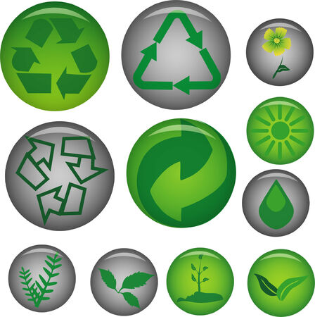 set of pins with ecology icons