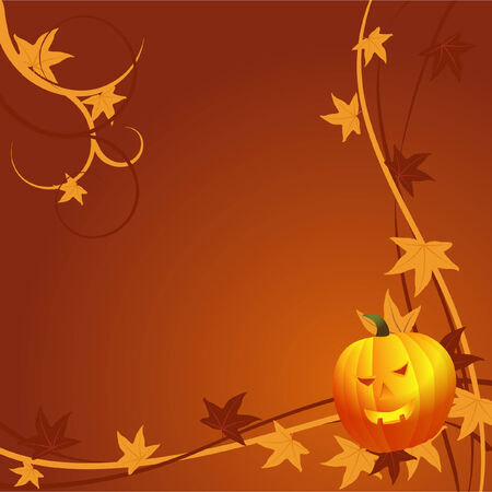 Halloween background with pumpkin and autumn leaves Vector