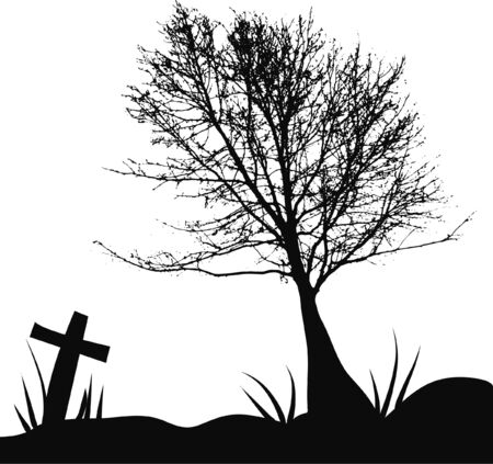 a tree and tombstone in a cemetery Vector