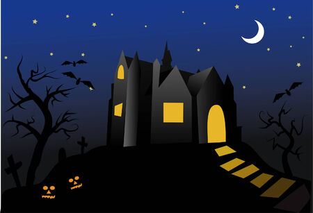 monsters house: halloween- old haunted house at night
