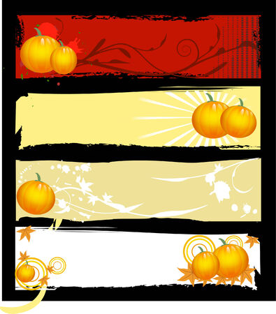 a set of halloween banners