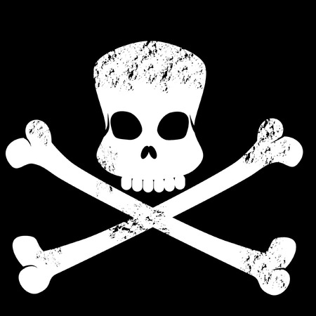 grungy skull and cross bones symbol Vector