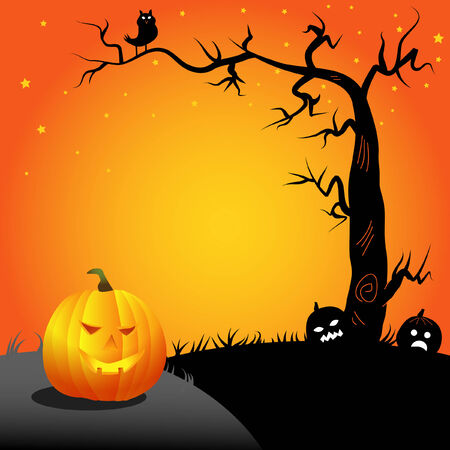 halloween- pumpkin and an owl on a tree Ilustração