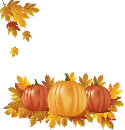 herfst-pompoenen met bladeren Stock Illustratie