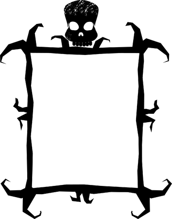 a spooky frame with a skull