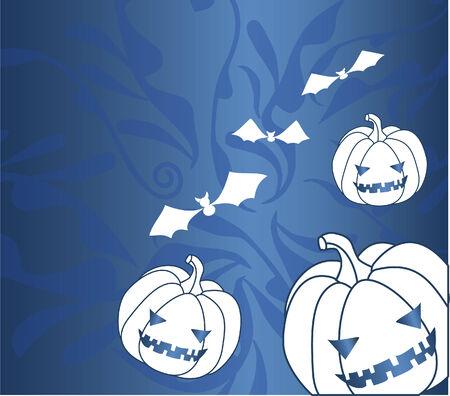 halloween illustration with pumpkin and bats Illustration