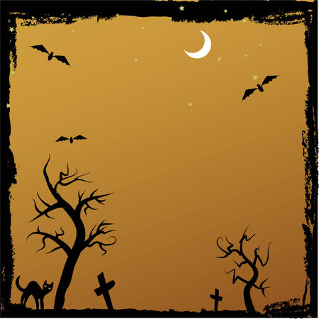 tomb: grungy halloween image with spooky trees and cat