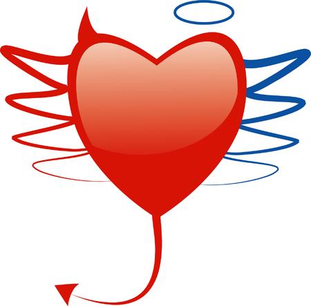 diablo y angel: conceptual coraz�n s�mbolo con los elementos de �ngel y diablo