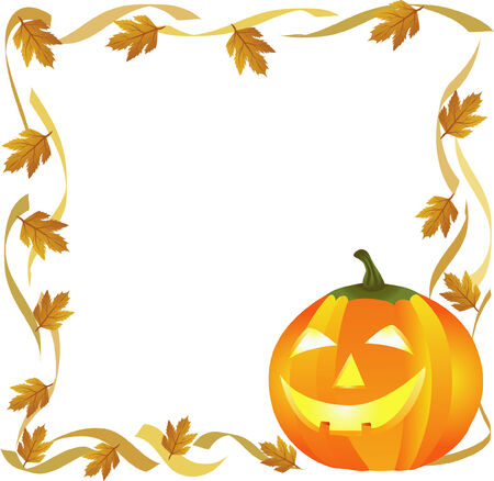 halloween pumpkin and autumn leaves forming a frame Stock Vector - 3762560