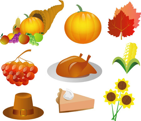 a set of thanksgiving icons Stock Vector - 3762566