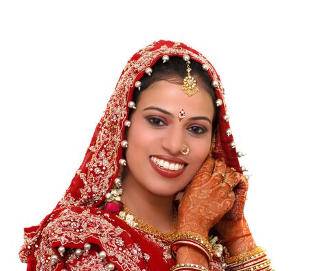 asian bride: indian bride wearing jewellery Stock Photo