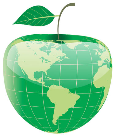 conceptual image - a globe in the shape of apple Stock Vector - 3808606