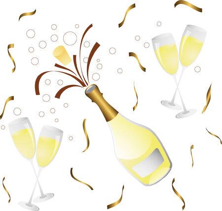 hape: bottiglia di champagne e coriandoli di vetro con Vettoriali