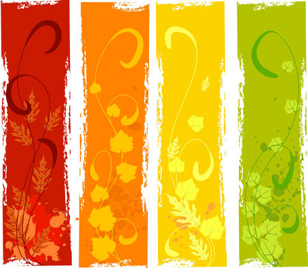 a set of grungy autumn banners